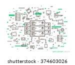 linear data center  server park ... | Shutterstock .eps vector #374603026