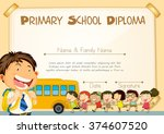 diploma template with children...   Shutterstock .eps vector #374607520
