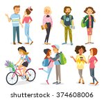 set of style young people and... | Shutterstock .eps vector #374608006
