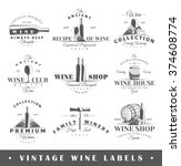 set of wine labels. elements... | Shutterstock .eps vector #374608774