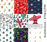 seamless patterns set. mexican...   Shutterstock .eps vector #374612590