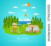family camping by the sea with ... | Shutterstock .eps vector #374614333