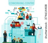 coworking centre composition... | Shutterstock .eps vector #374614408