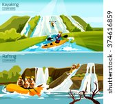 two colorful active water sport ... | Shutterstock .eps vector #374616859