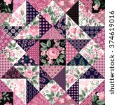 seamless floral patchwork... | Shutterstock .eps vector #374619016