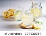 lemonade with fresh lemon and...   Shutterstock . vector #374620354