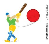 cricket player hitting big... | Shutterstock .eps vector #374629369