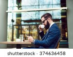 businessman checking email and... | Shutterstock . vector #374636458