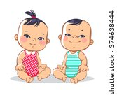 smiling toddler boy and girl... | Shutterstock .eps vector #374638444