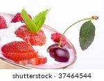 strawberry dessert isolated on... | Shutterstock . vector #37464544