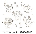 cute cartoon planets for... | Shutterstock .eps vector #374647099