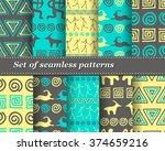set of vector tribal striped... | Shutterstock .eps vector #374659216