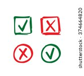 set of hand drawn check mark... | Shutterstock .eps vector #374664820