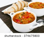 letcho with paprika  zucchini... | Shutterstock . vector #374675803