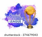 creative golden winning trophy... | Shutterstock .eps vector #374679043