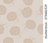 hydrangea seamless brown...   Shutterstock .eps vector #374682529