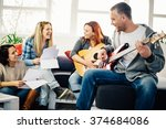 home band learning new song... | Shutterstock . vector #374684086