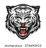 face of a white bengal tiger. | Shutterstock .eps vector #374693923