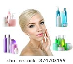 beautiful young woman with...   Shutterstock . vector #374703199