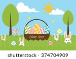 background with eggs  trees ... | Shutterstock .eps vector #374704909