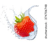 fresh strawberry with water... | Shutterstock . vector #374706748