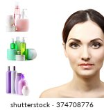 beautiful young woman with...   Shutterstock . vector #374708776