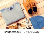 men's casual clothes and... | Shutterstock . vector #374719639