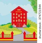 funny school building | Shutterstock .eps vector #374721544