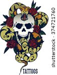 skull with snake and five roses ... | Shutterstock .eps vector #374721760