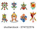 8  auspicious symbols of... | Shutterstock .eps vector #374722576