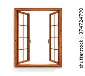 open wooden window isolated on... | Shutterstock . vector #374724790