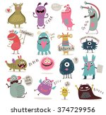 vector set of cartoon cute... | Shutterstock .eps vector #374729956