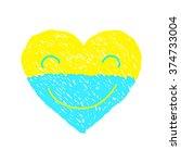 ukraine heart vector smile ... | Shutterstock .eps vector #374733004