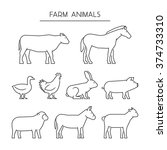 vector line set of farm animals ... | Shutterstock .eps vector #374733310