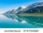 Small photo of The Beauty of North America | Alaska: Mountains reflecting in still water of Glacier Bay in Alaska, United States.