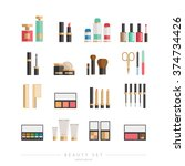 beauty icons set   cosmetics ... | Shutterstock .eps vector #374734426