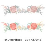 garland of flowers and leaves | Shutterstock .eps vector #374737048
