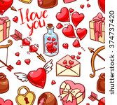 valentine's day seamless... | Shutterstock .eps vector #374737420
