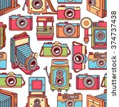 seamless with different vintage ... | Shutterstock .eps vector #374737438