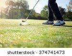 golf player tests golf swing on ... | Shutterstock . vector #374741473