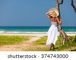 young woman in hat and white... | Shutterstock . vector #374743000