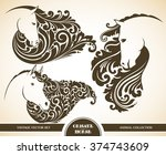 Stock vector vector set ornamental decorative horse horse patterned head vector illustration animal graphic 374743609