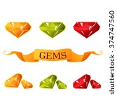set of glossy gems for mobile...