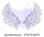 patterned wings on the grunge... | Shutterstock .eps vector #374751874