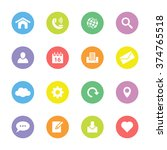 colorful simple flat icon set 1 ...