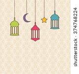 illustration islamic background ...   Shutterstock . vector #374768224