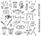 hand drawn doodle theatre set... | Shutterstock .eps vector #374773240