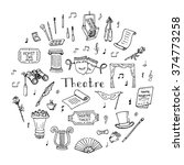 hand drawn doodle theatre set... | Shutterstock .eps vector #374773258