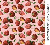 seamless watercolor strawberry... | Shutterstock . vector #374773300