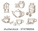 sketched tea icons with jars ... | Shutterstock .eps vector #374788006